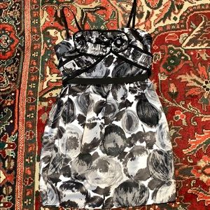 BCBG cocktail dress Rusche printed gray and black